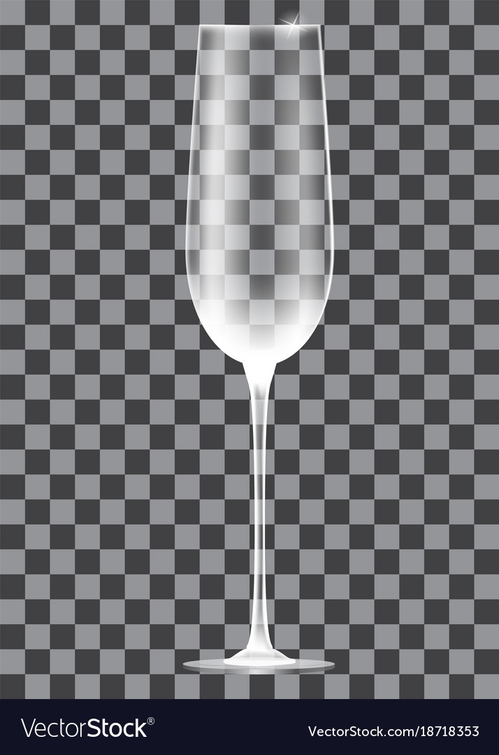 Empty champagne glass on transparent background