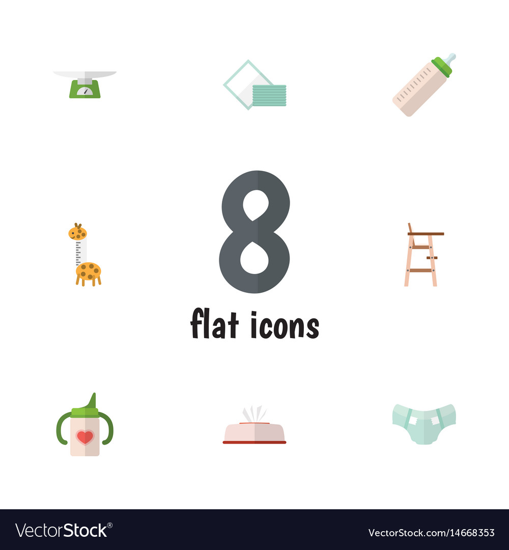 Flat kid set of nappy tissue feeder and other vector image