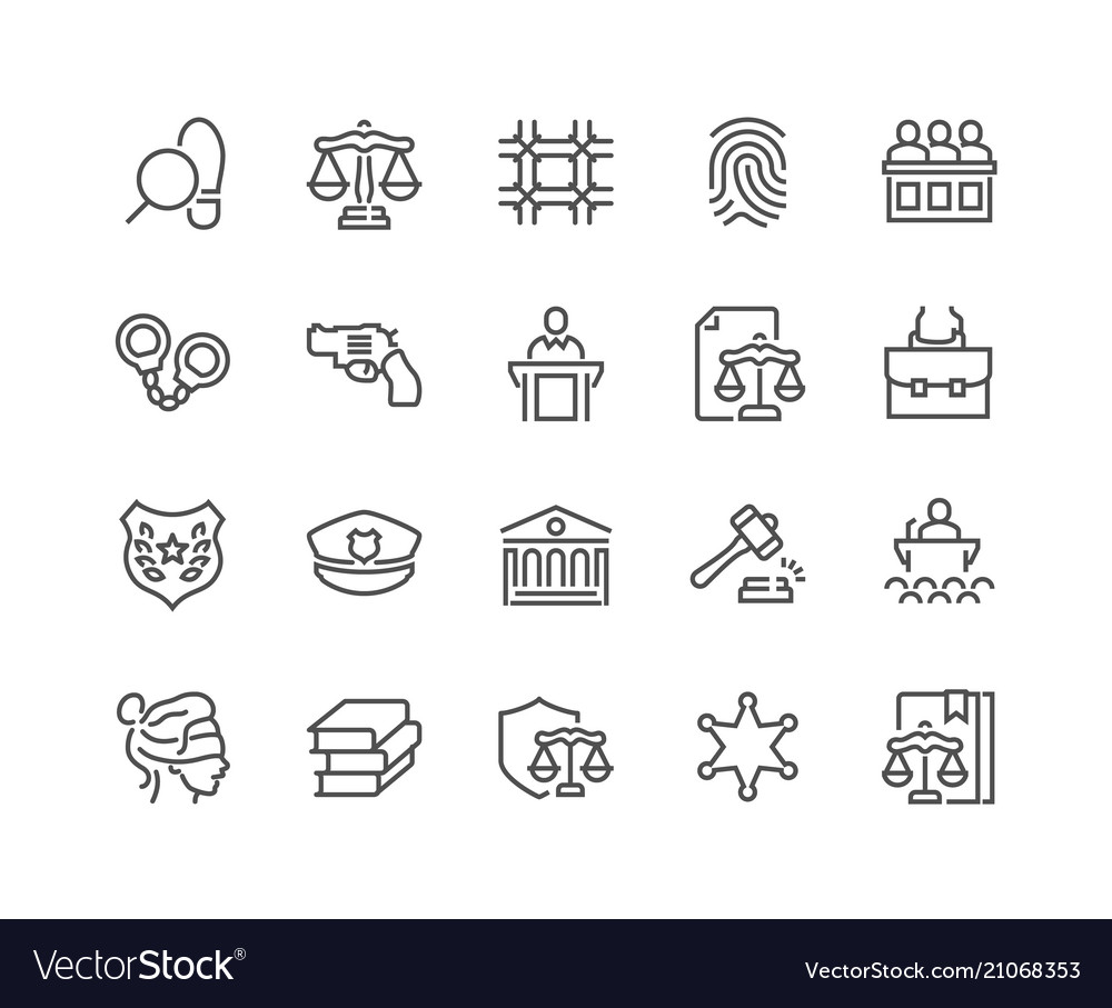 Line law and justice icons