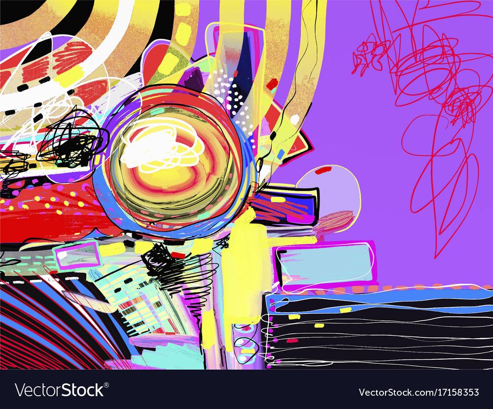 Original digital abstract painting contemporary