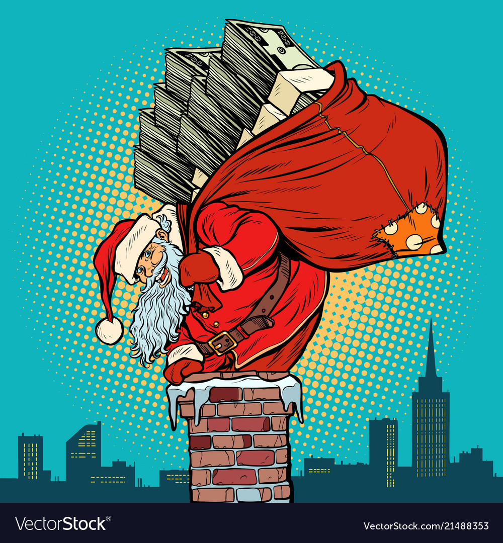 Santa claus with money climbs into the chimney