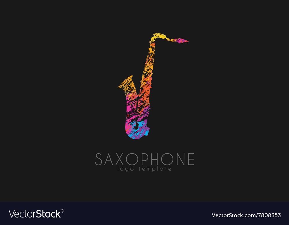 Saxophone logo design Music logo Creative logo vector image