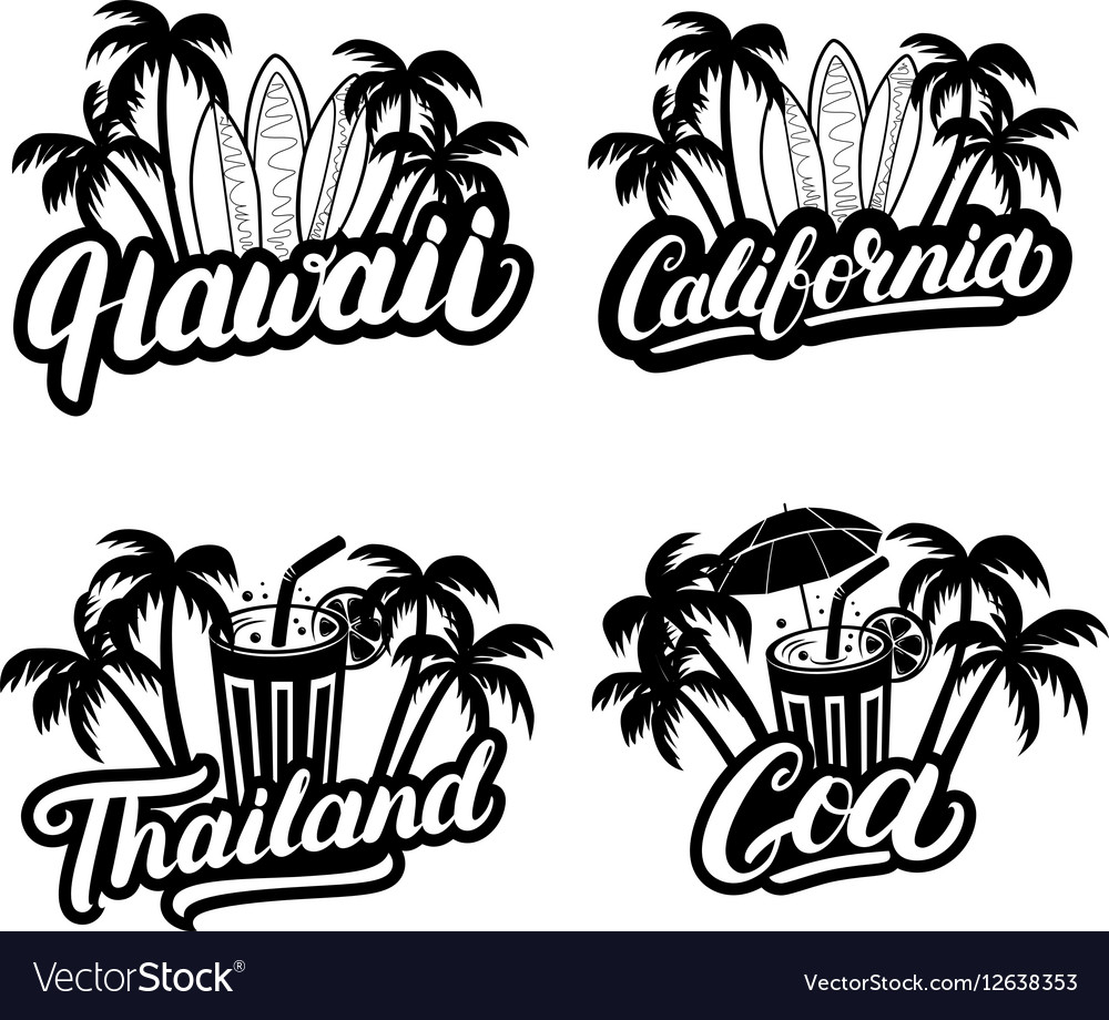 Set of Hawaii California Goa and Thailand hand