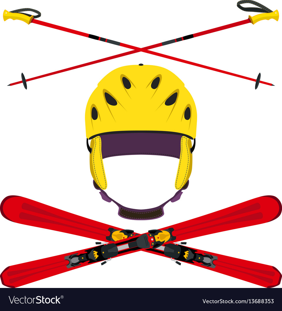 Set of helmet with ski poles skiing in flat style