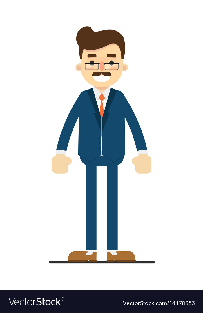 Smiling adult manager character in flat design vector image