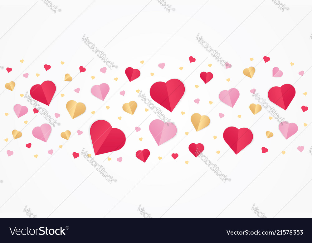 Valentines day red and gold paper cut heart shape