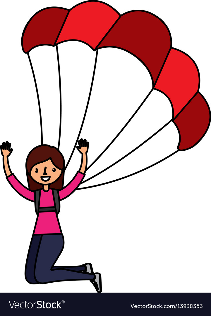 young woman with parachute royalty free vector image rh vectorstock com parachute vector download parachute vector image