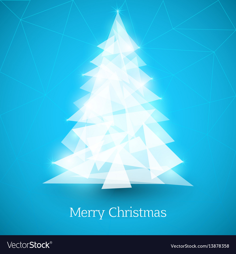 Abstract christmas tree made of white triangles on