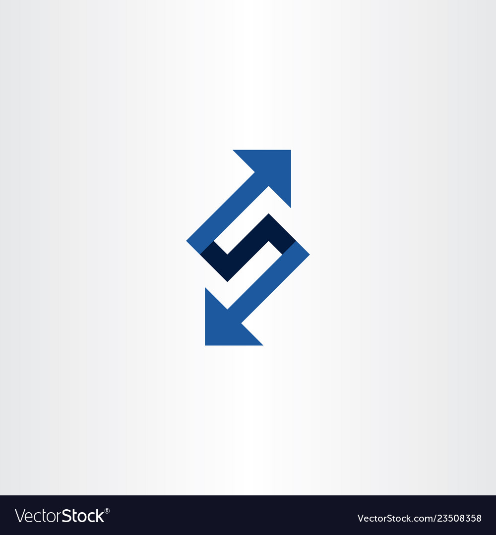 Blue letter s or number 5 logo with arrows