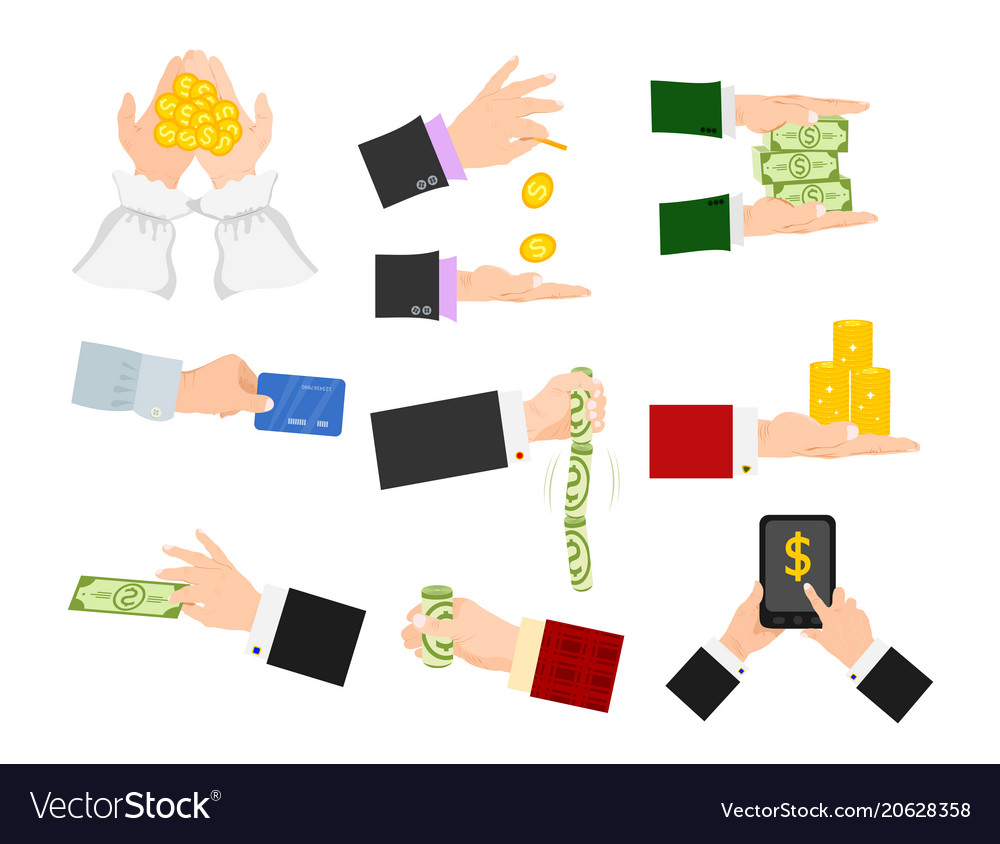 Businessman human hands arm holding paper money