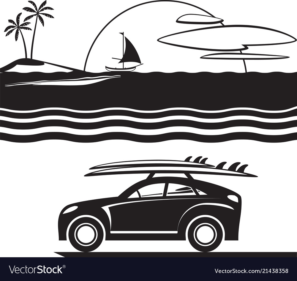 Car with surfboards on the beach