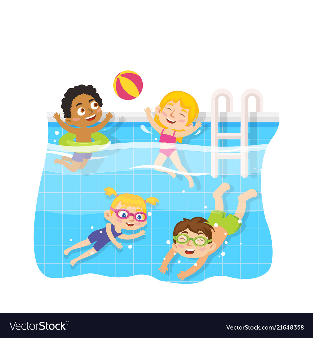 Children swimming in pool underwater and play toy