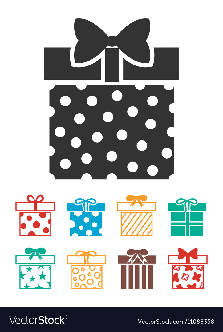 Gift boxes icons set isolated over white