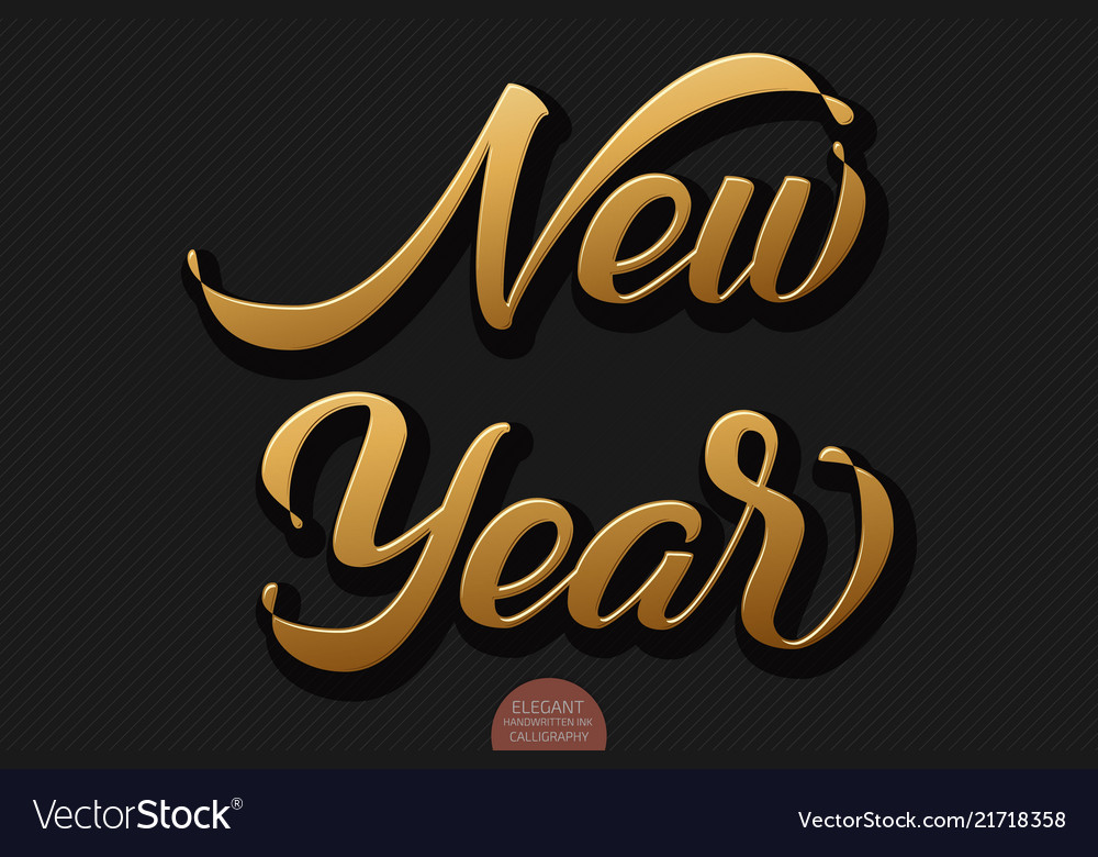 Gold volumetric new year handwritten lettering