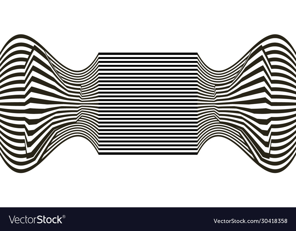 Line waves illusion optical black and white