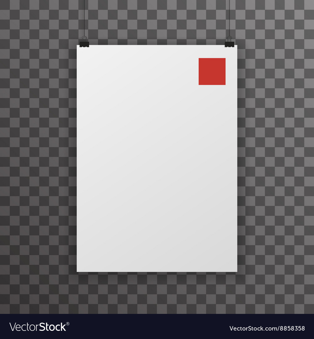 Realistic A4 Poster Transperent Icon Template
