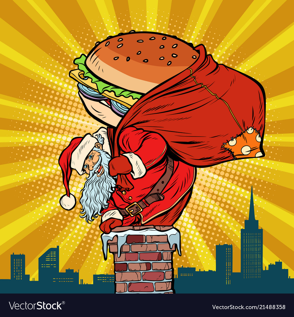 Santa claus with a burger climbs into the chimney