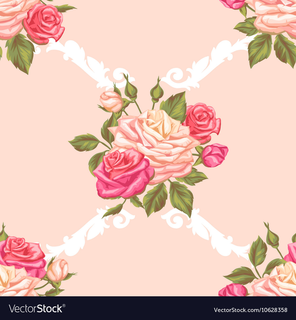 Seamless pattern with vintage roses decorative