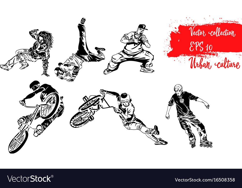 Set of extreme sportsmen rollers bicyclists and vector image