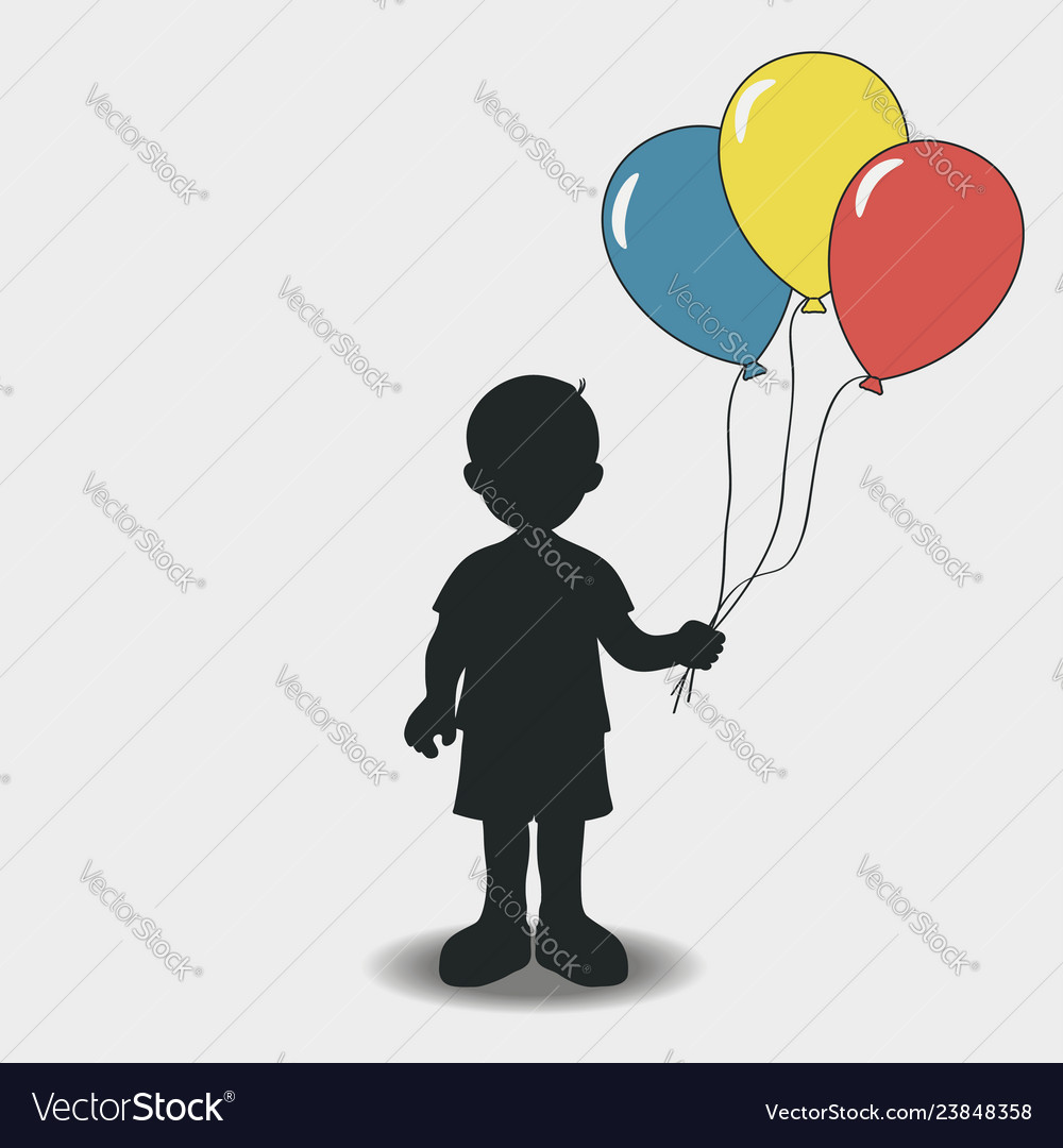 Silhouette of a boy with balloons