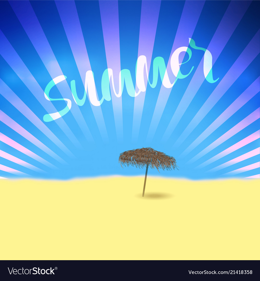 Summer retro poster with lettering and beach