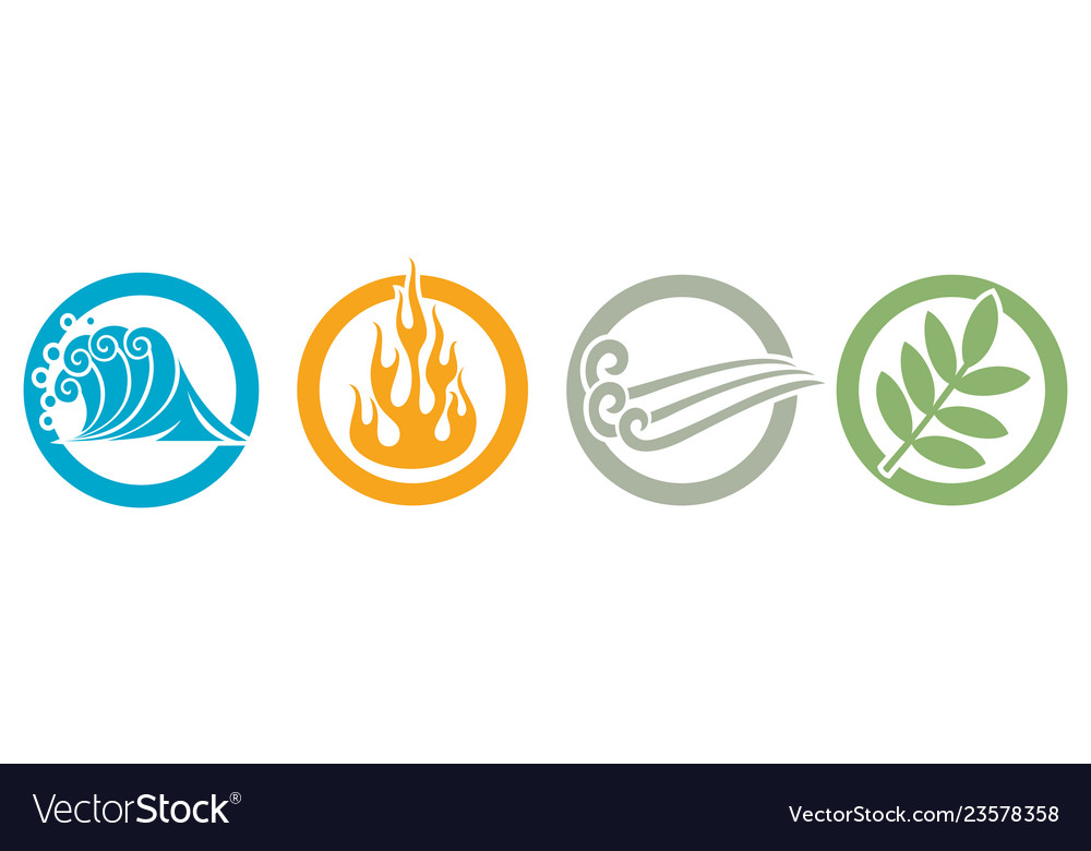 Symbols of four elements - water fire air and e
