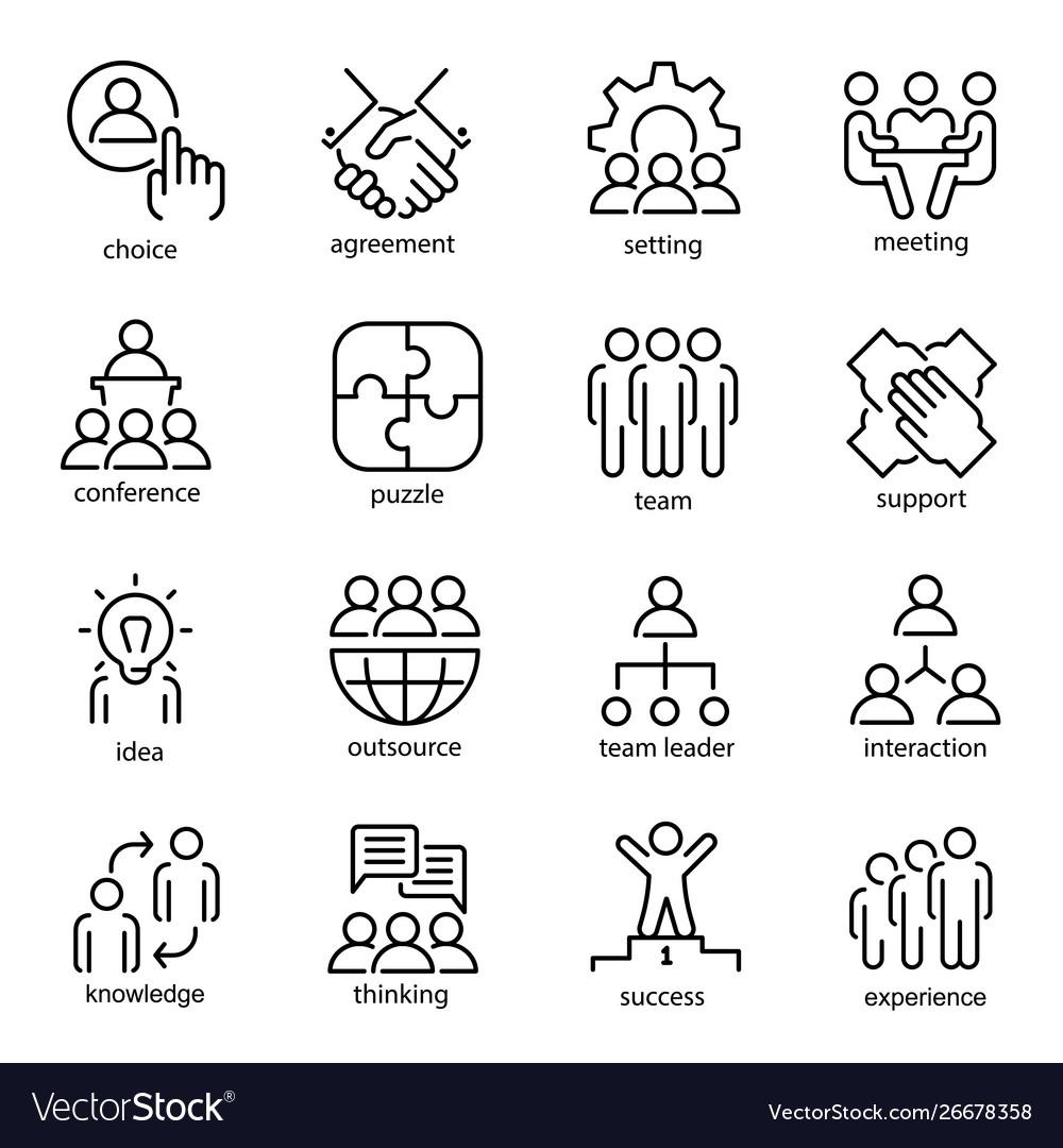 Team work line art icon set business group symbol