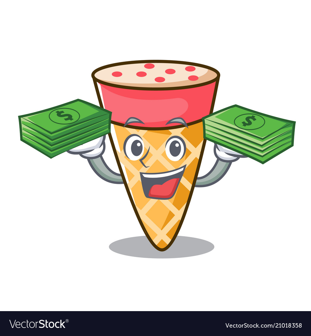 With money bag ice cream tone mascot cartoon