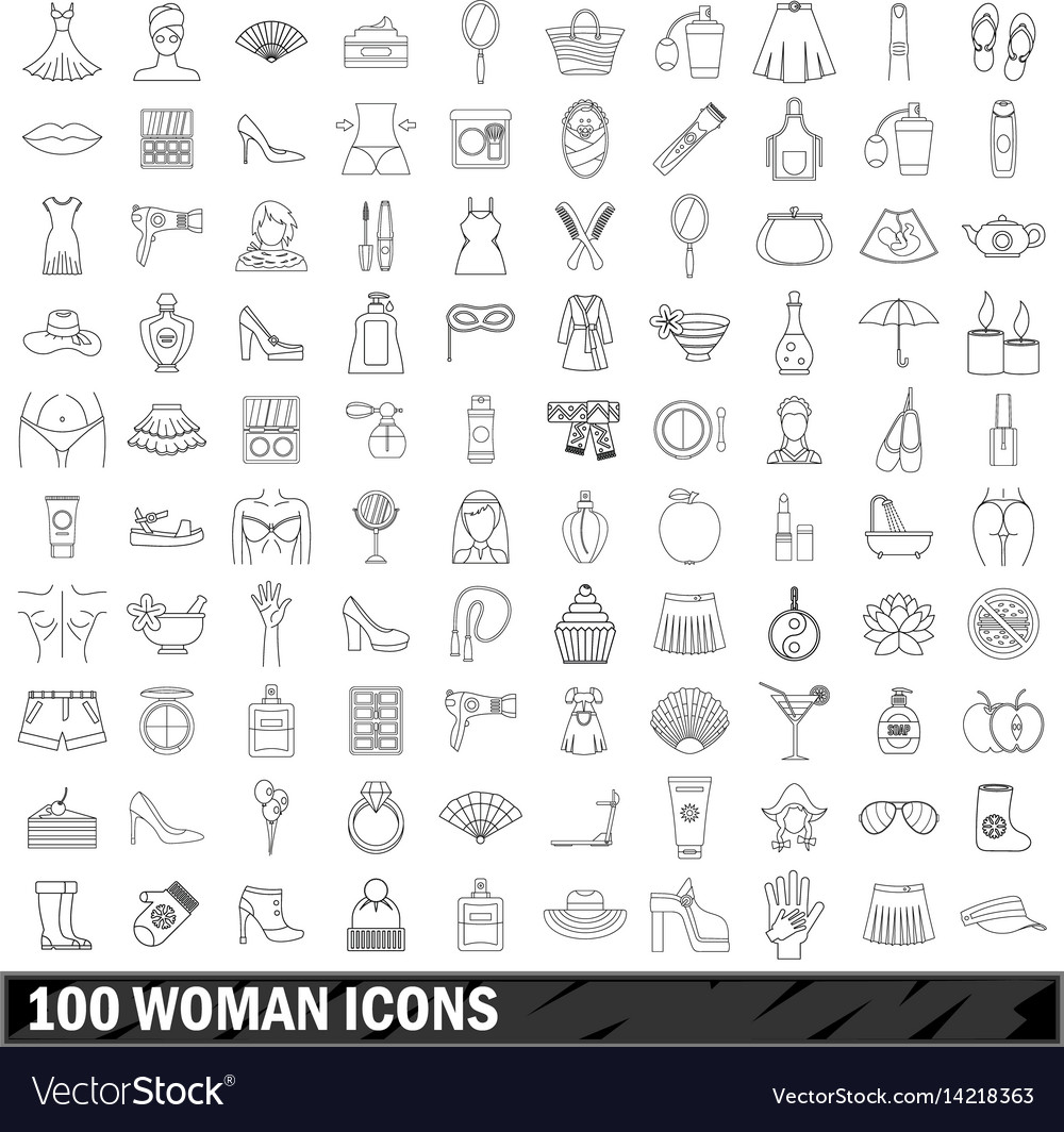 100 woman icons set outline style