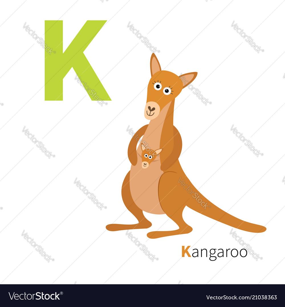 Abc english alphabet letter k kangaroo mom