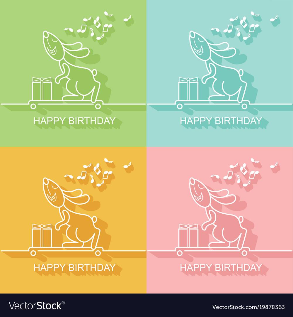 Birthday card with a rabbit on a skateboard