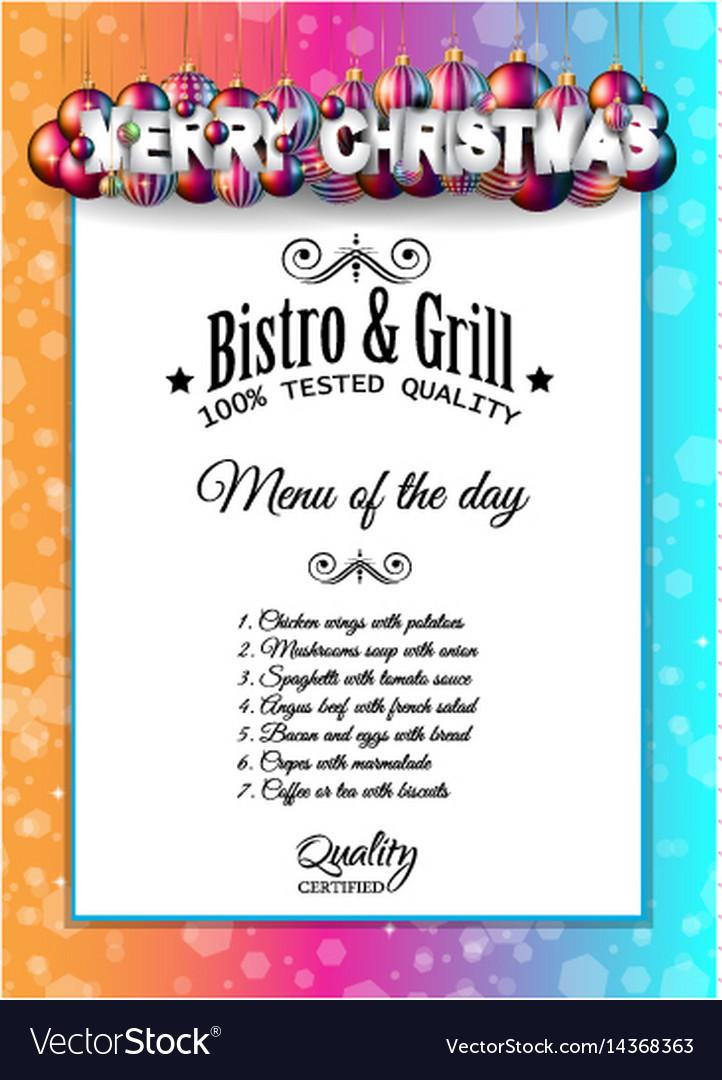 christmas dinner or lunch restaurant menu template vector image - Christmas Menu Template