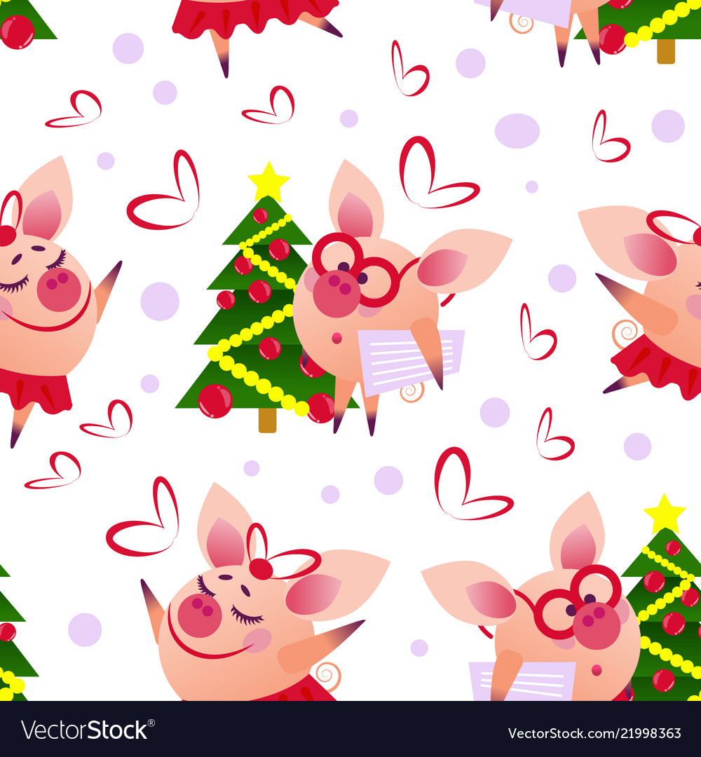 Cute seamless pig pattern wth intellegent and