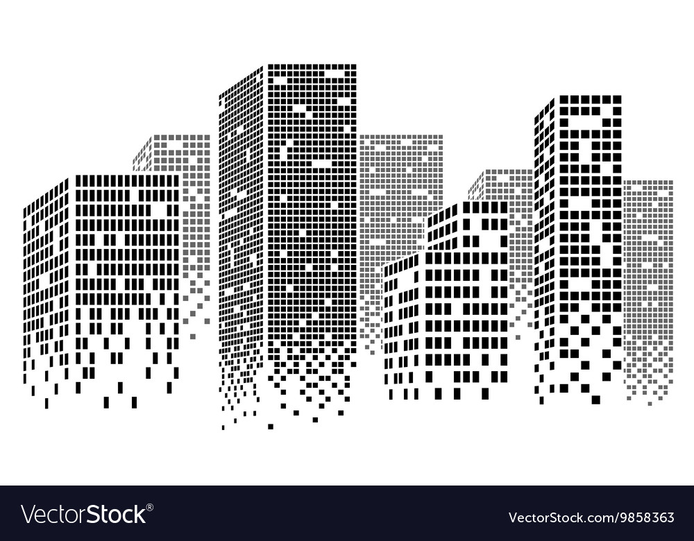 dotted skyscrapers royalty free vector image vectorstock rh vectorstock com skyscraper line vector singapore skyscraper vector