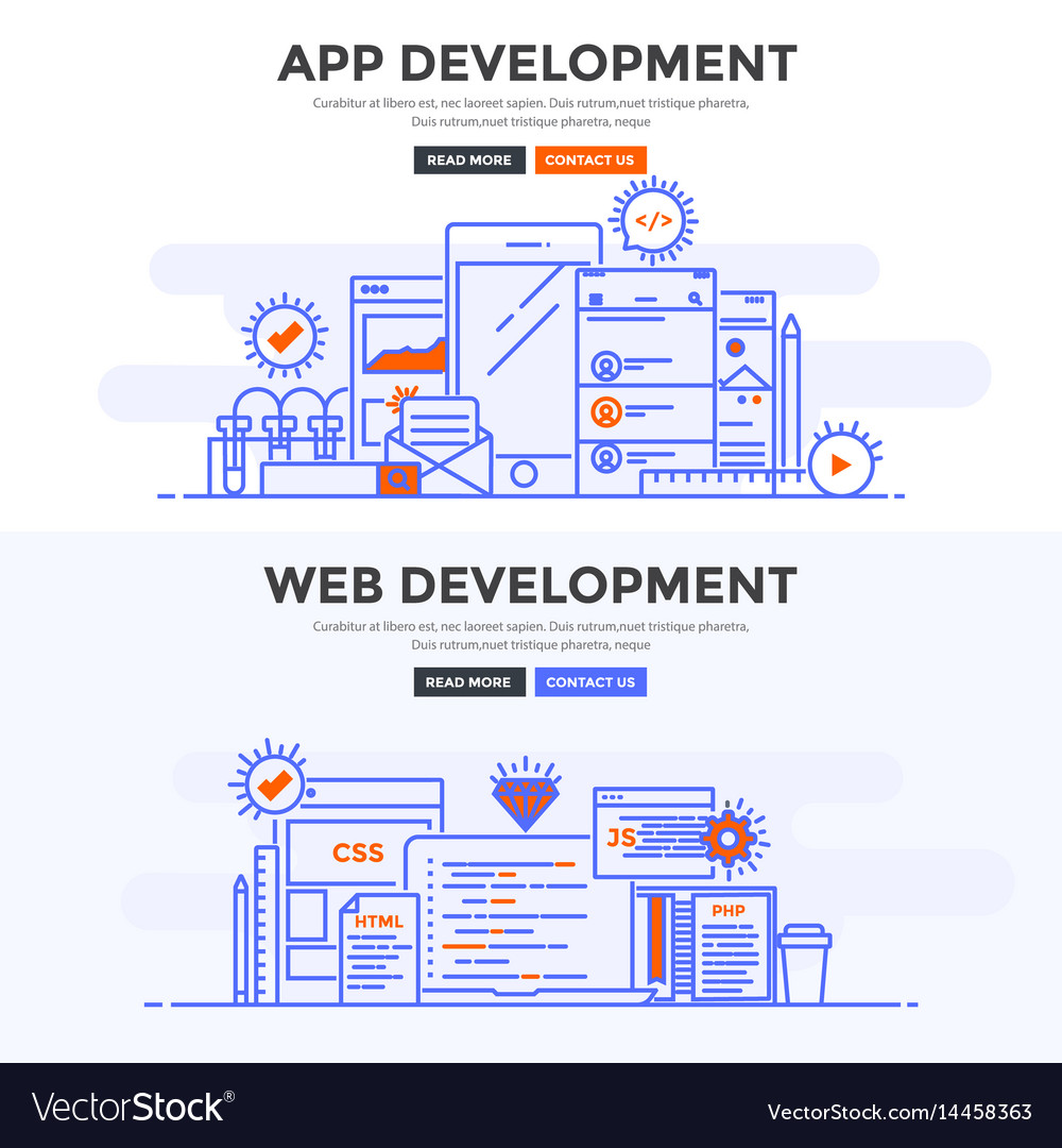 Flat design concept banner - app development and