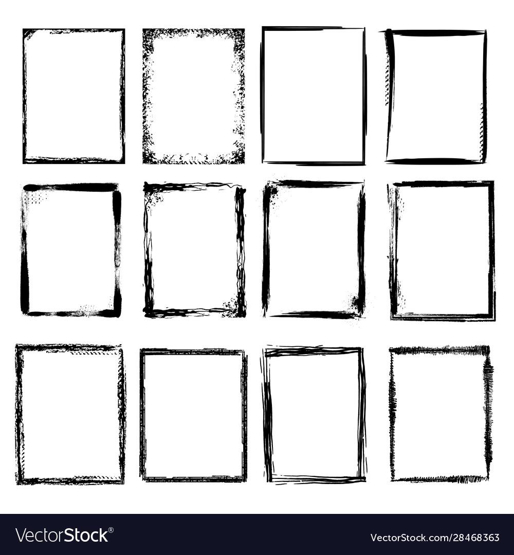 Grunge frames scratchy sketched shapes