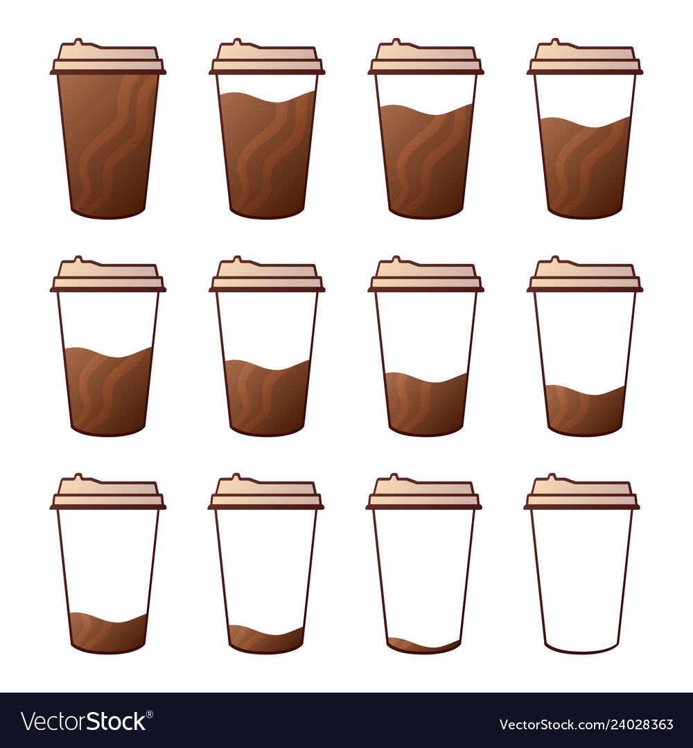Isolated set of 12 paper cups for coffee with a