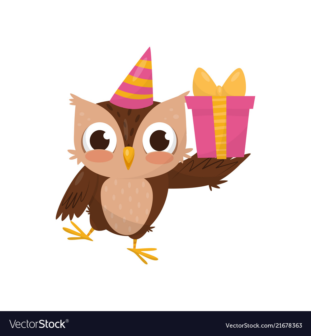 Lovely little owlet wearing party hat holding gift