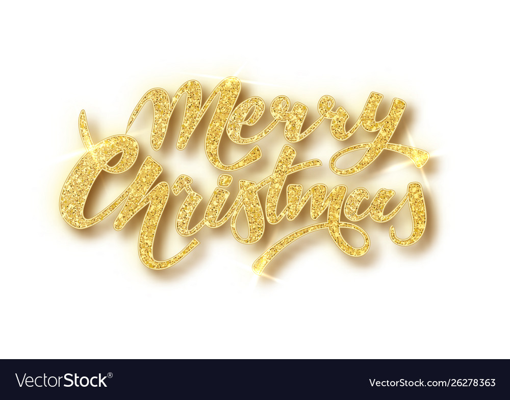 Merry christmas card with golden glitter lettering