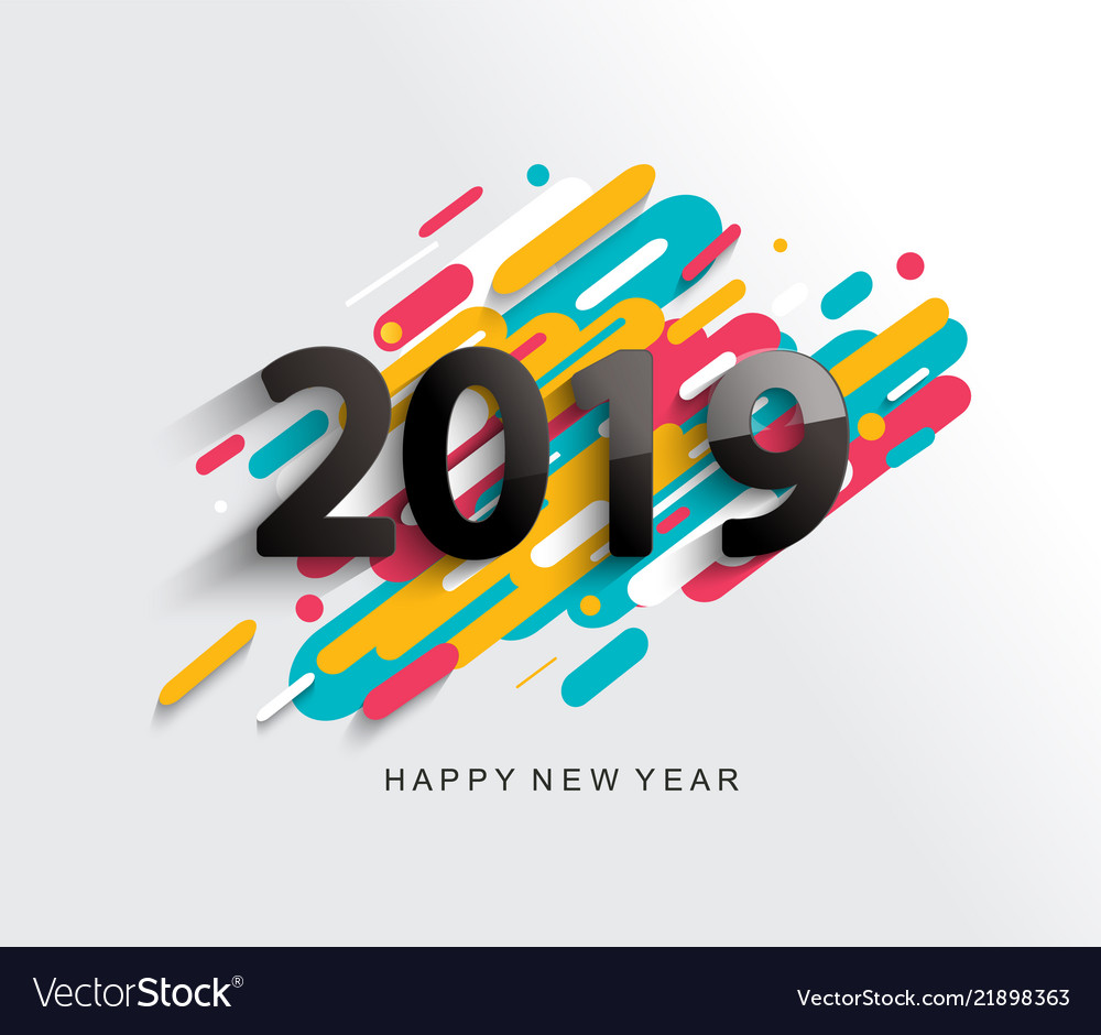 New year 2019 card on modern background