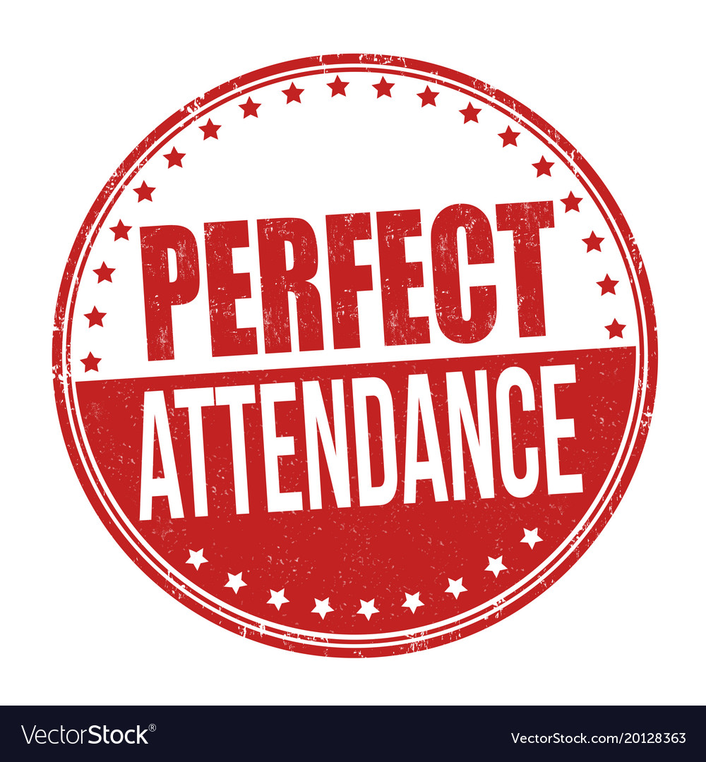 perfect attendance grunge rubber stamp royalty free vector