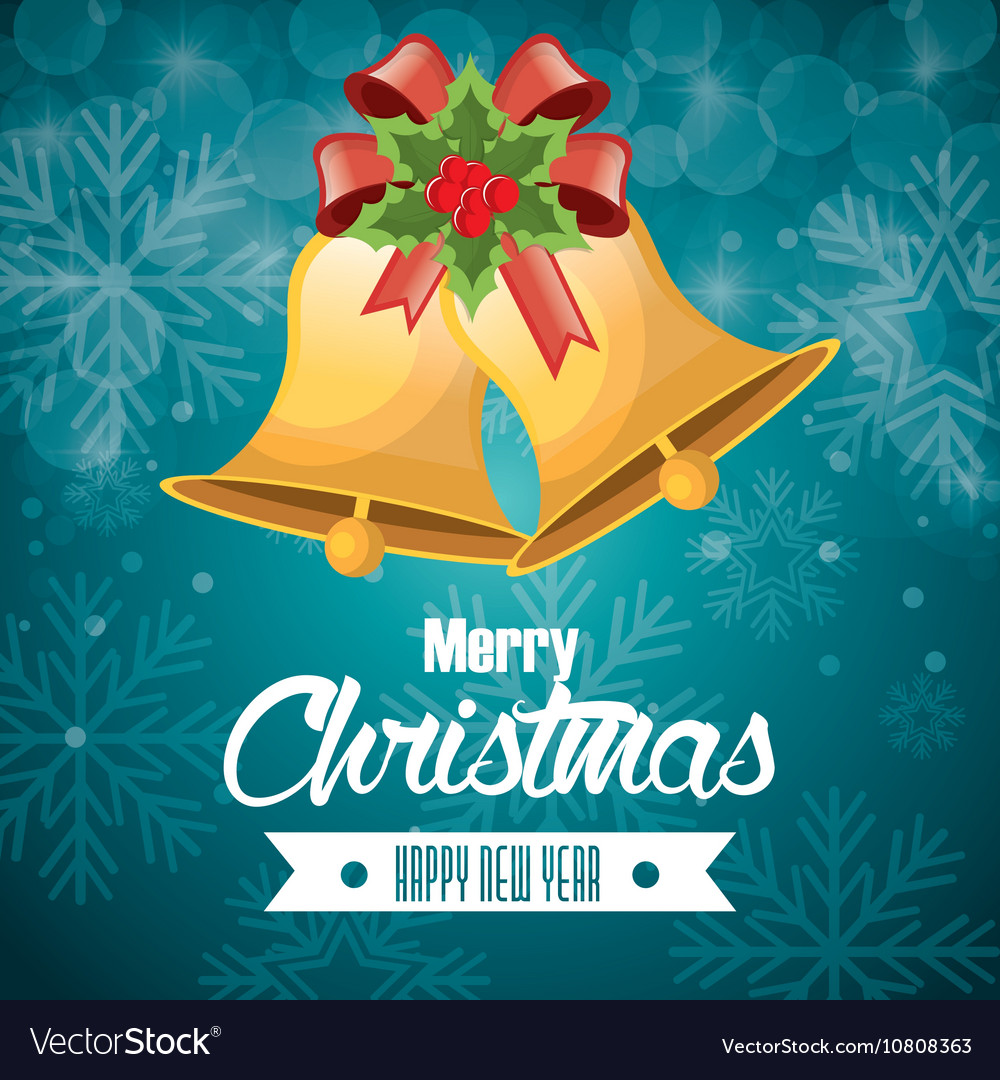 Postcard merry christmas and happy new year bell vector image