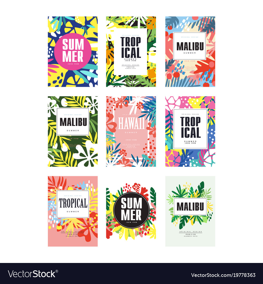 Summer banners set malibu hawaii tropical vector image