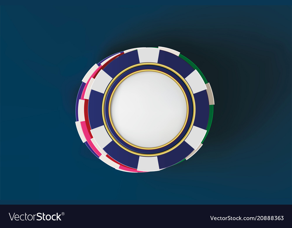 Top view of casino poker chips on blue background
