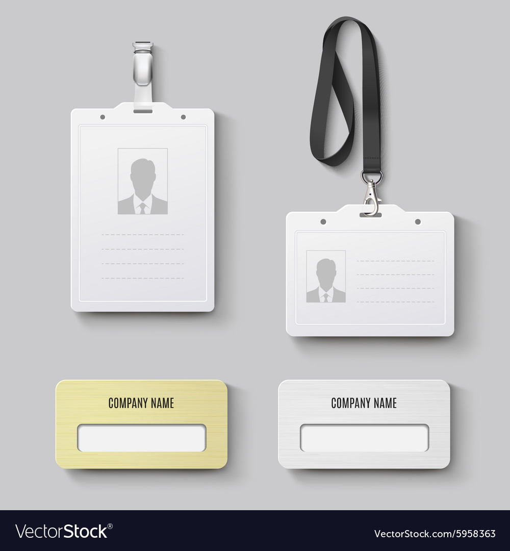 white blank plastic with clasp lanyards id badge vector image