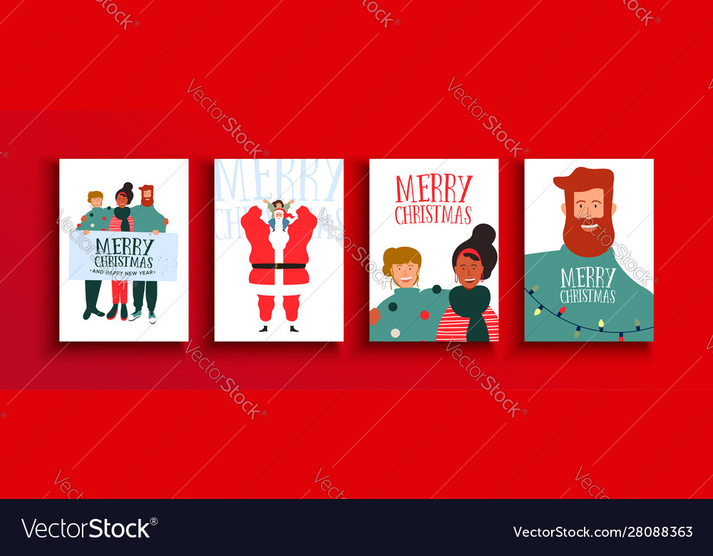 Year holiday friends people card set