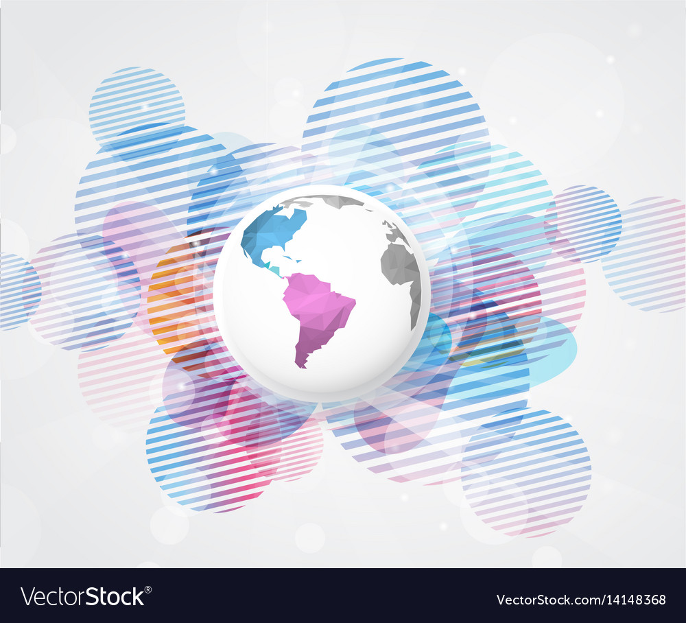 Abstract colored background with polygonal globe