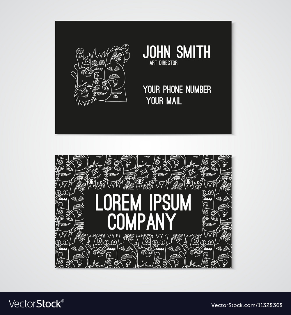 Business card template whit funny doodle monsters vector image wajeb Gallery