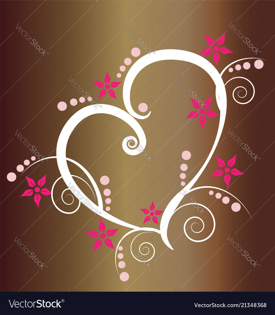 Floral heart design icon