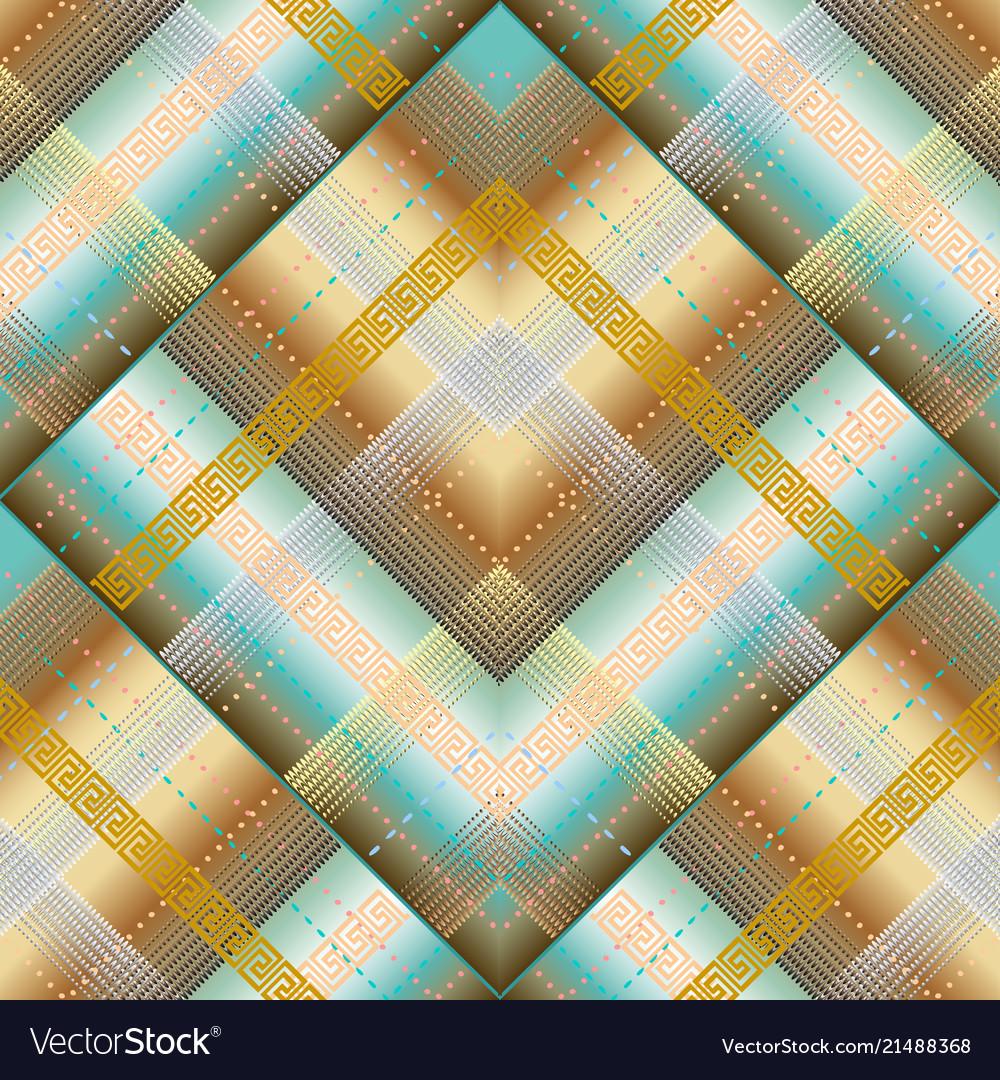 Geometric striped greek 3d seamless pattern